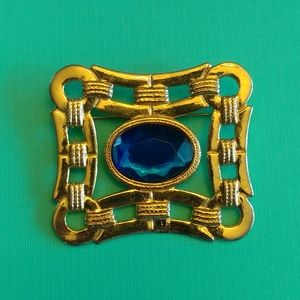 80s vintage faceted blue stone & gold links pin